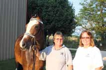 Thanks to Little Miss  Perfection (gray horse) owned by Anita Pate and Tri-Mi Goody Two Shoes owned by Linda Shaddy. Linda Shaddy and Jan Cunningham show off Tri-Mi Goody Two shoes.