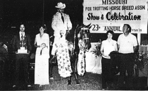 The World Champion Missouri Fox Trotter for 1981 is Yankee's Whispering Hope, owned by Carrol Counts of New Orleans, Louisiana, and shown by Billy Johnson of Rogersville, Missouri.